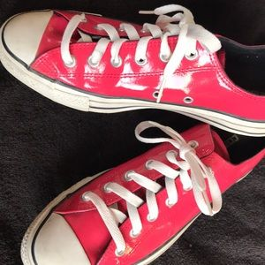 Pink patent leather converse women's size 9.
